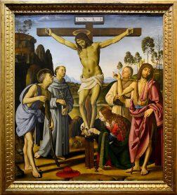 La Crocifissione e santi di Perugino e Signorelli agli Uffizi