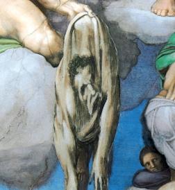 L'autoritratto di Michelangelo nel Giudizio Universale della cappella Sistina
